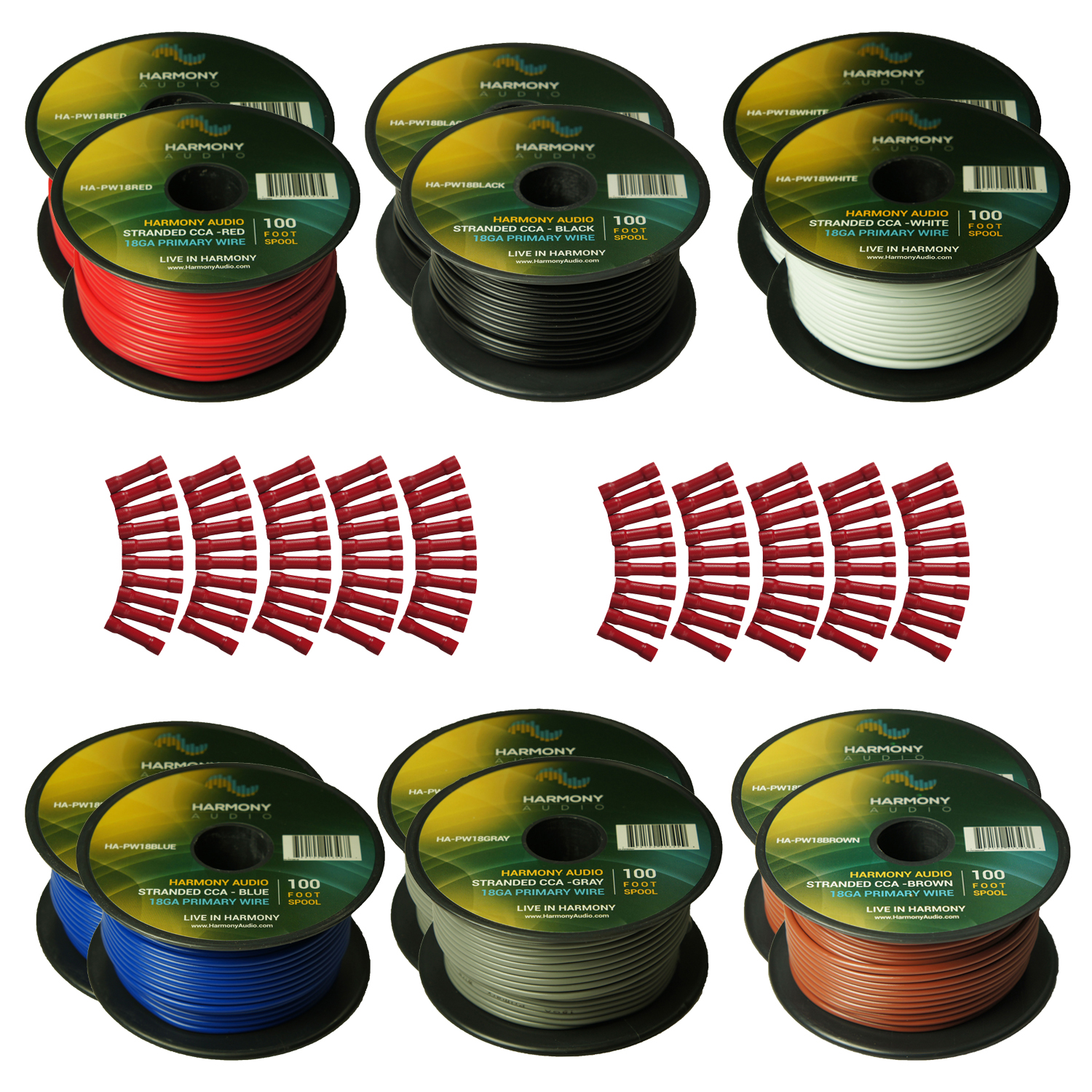 Harmony Audio Primary Single Conductor 18 Gauge Power or Ground Wire - 12 Rolls - 1200 Feet - 6 Color Mix for Car Audio / Trailer / Model Train / Remote