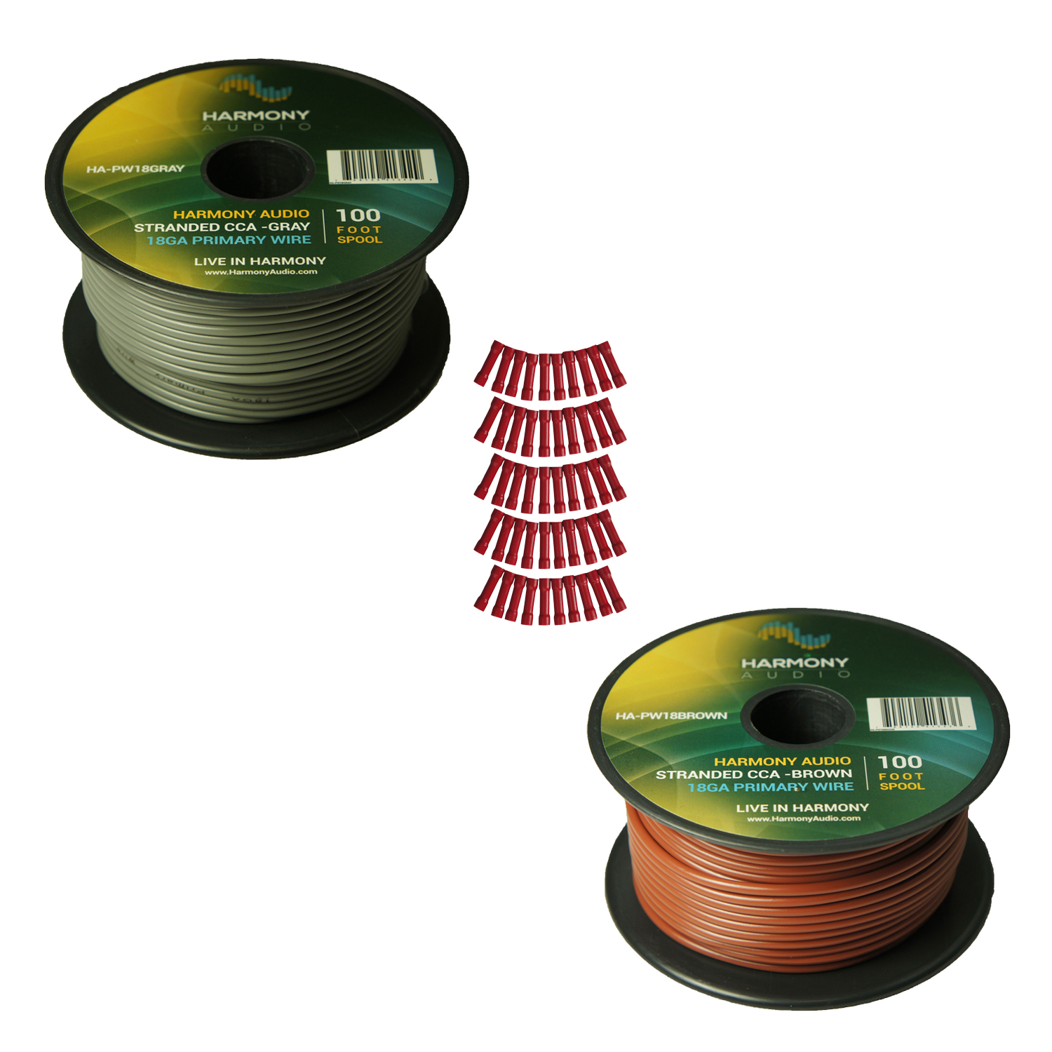 Harmony Audio Primary Single Conductor 18 Gauge Power or Ground Wire - 2 Rolls - 200 Feet - Gray & Brown for Car Audio / Trailer / Model Train / Remote