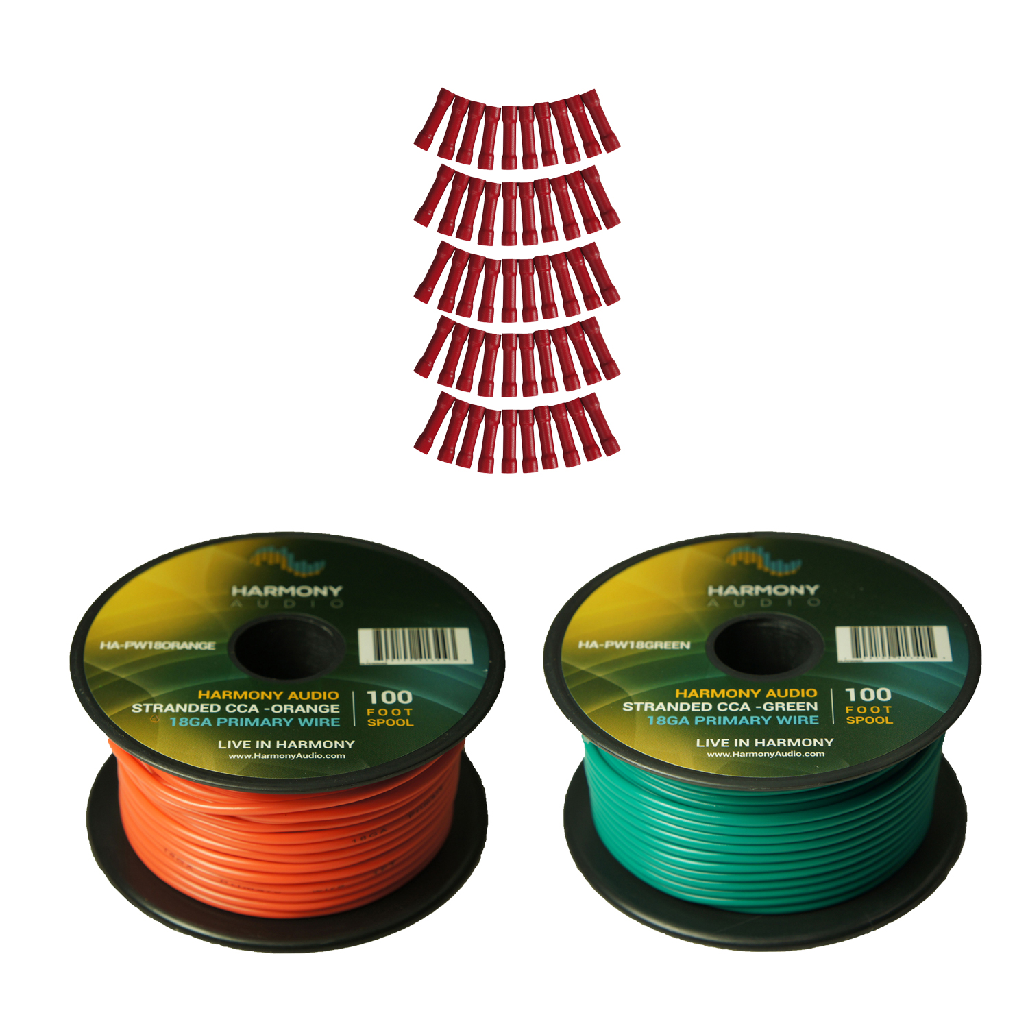 Harmony Audio Primary Single Conductor 18 Gauge Power or Ground Wire - 2 Rolls - 200 Feet - Green & Orange for Car Audio / Trailer / Model Train / Remote
