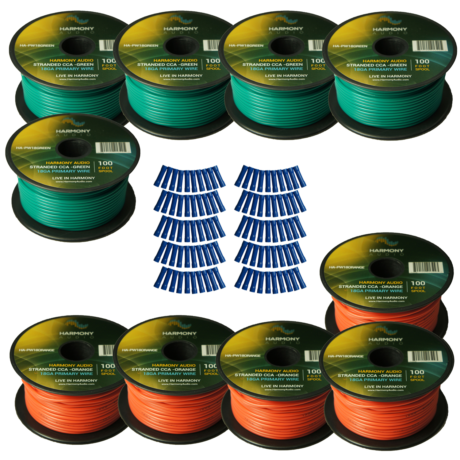 Harmony Audio Primary Single Conductor 18 Gauge Power or Ground Wire - 10 Rolls - 1000 Feet - Green & Orange for Car Audio / Trailer / Model Train / Remote
