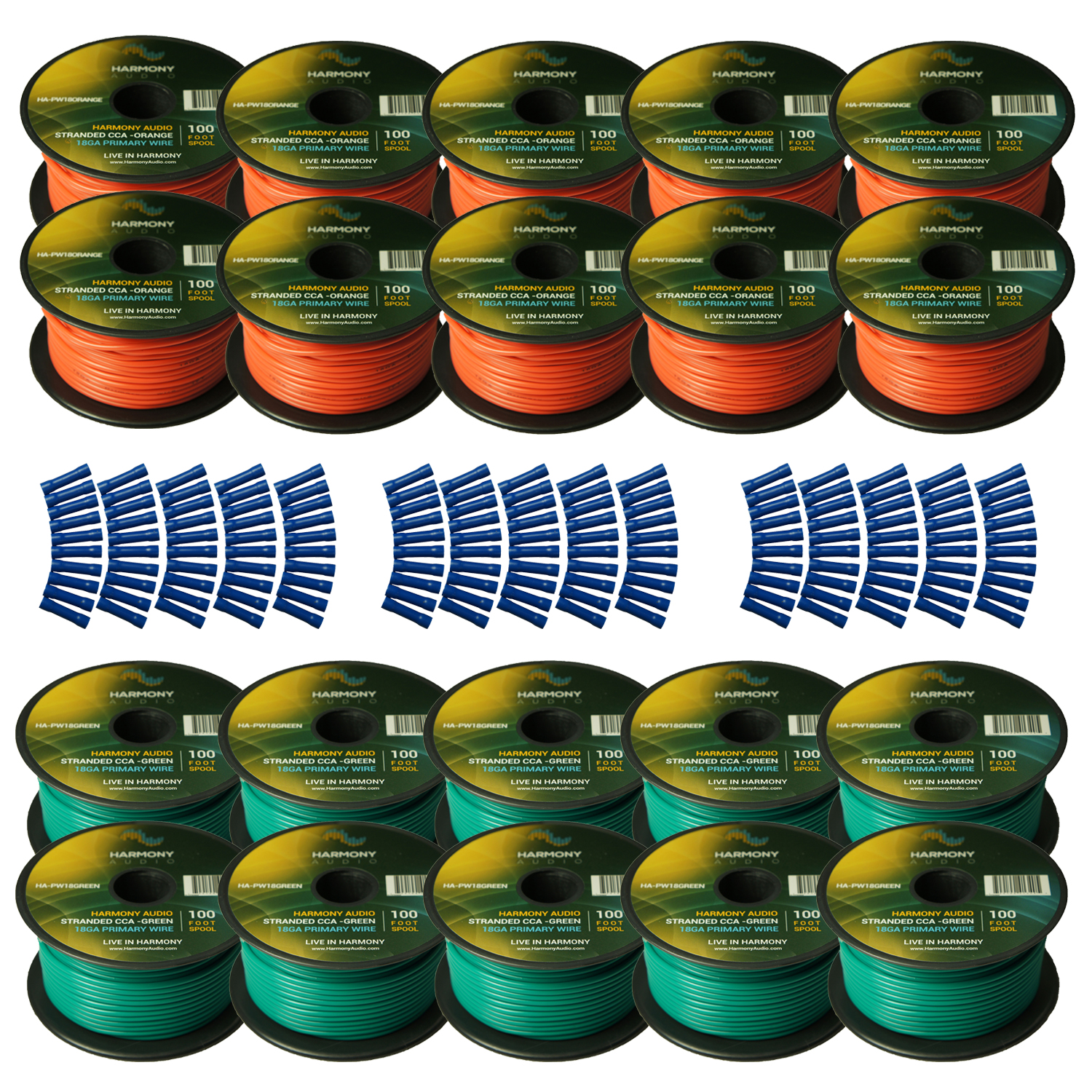 Harmony Audio Primary Single Conductor 18 Gauge Power or Ground Wire - 20 Rolls - 2000 Feet - Green & Orange for Car Audio / Trailer / Model Train / Remote