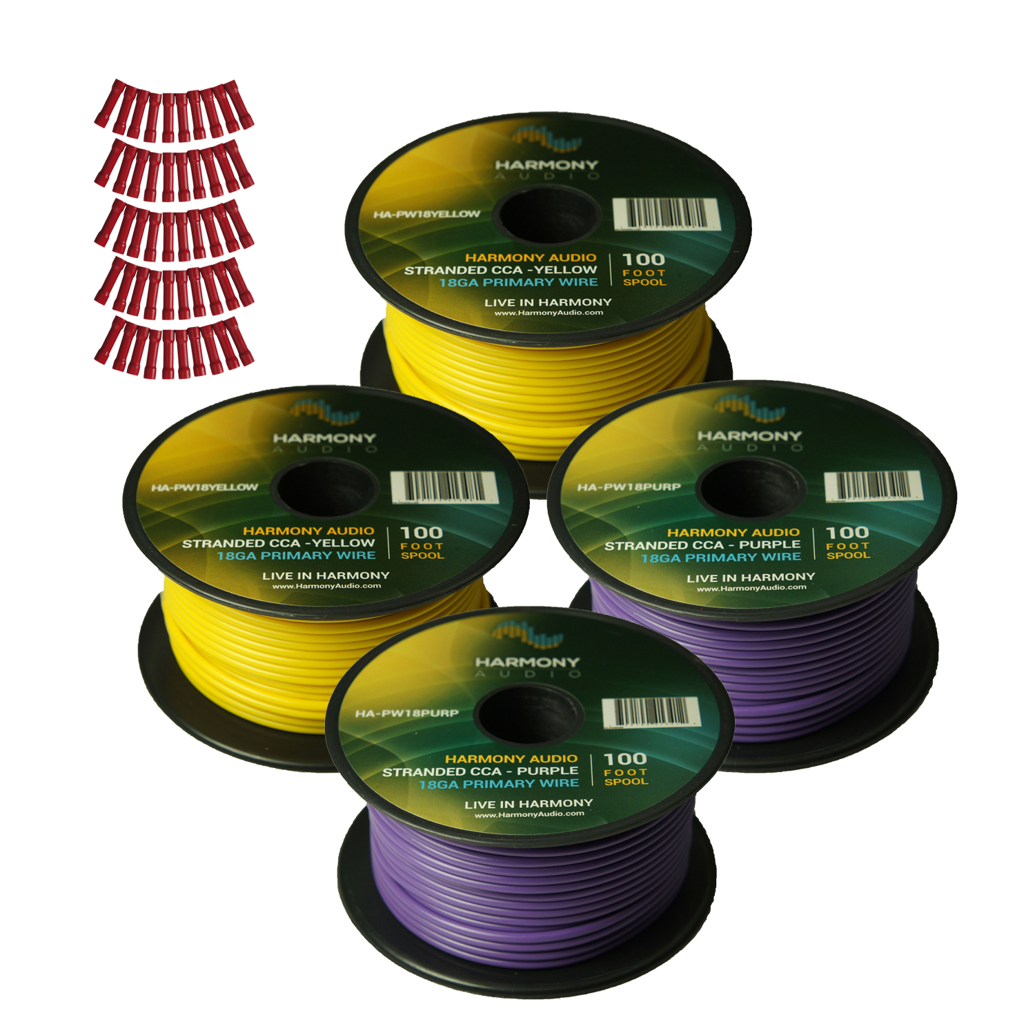 Harmony Audio Primary Single Conductor 18 Gauge Power or Ground Wire - 4 Rolls - 400 Feet - Yellow & Purple for Car Audio / Trailer / Model Train / Remote