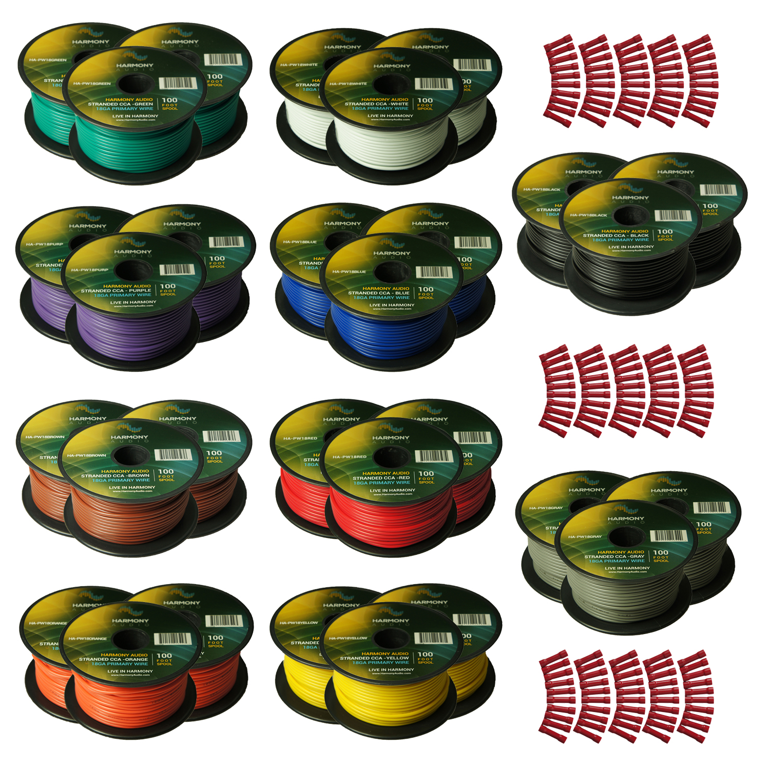 Harmony Audio Primary Single Conductor 18 Gauge Power or Ground Wire - 30 Rolls - 2000 Feet - Color Mix for Car Audio / Trailer / Model Train / Remote