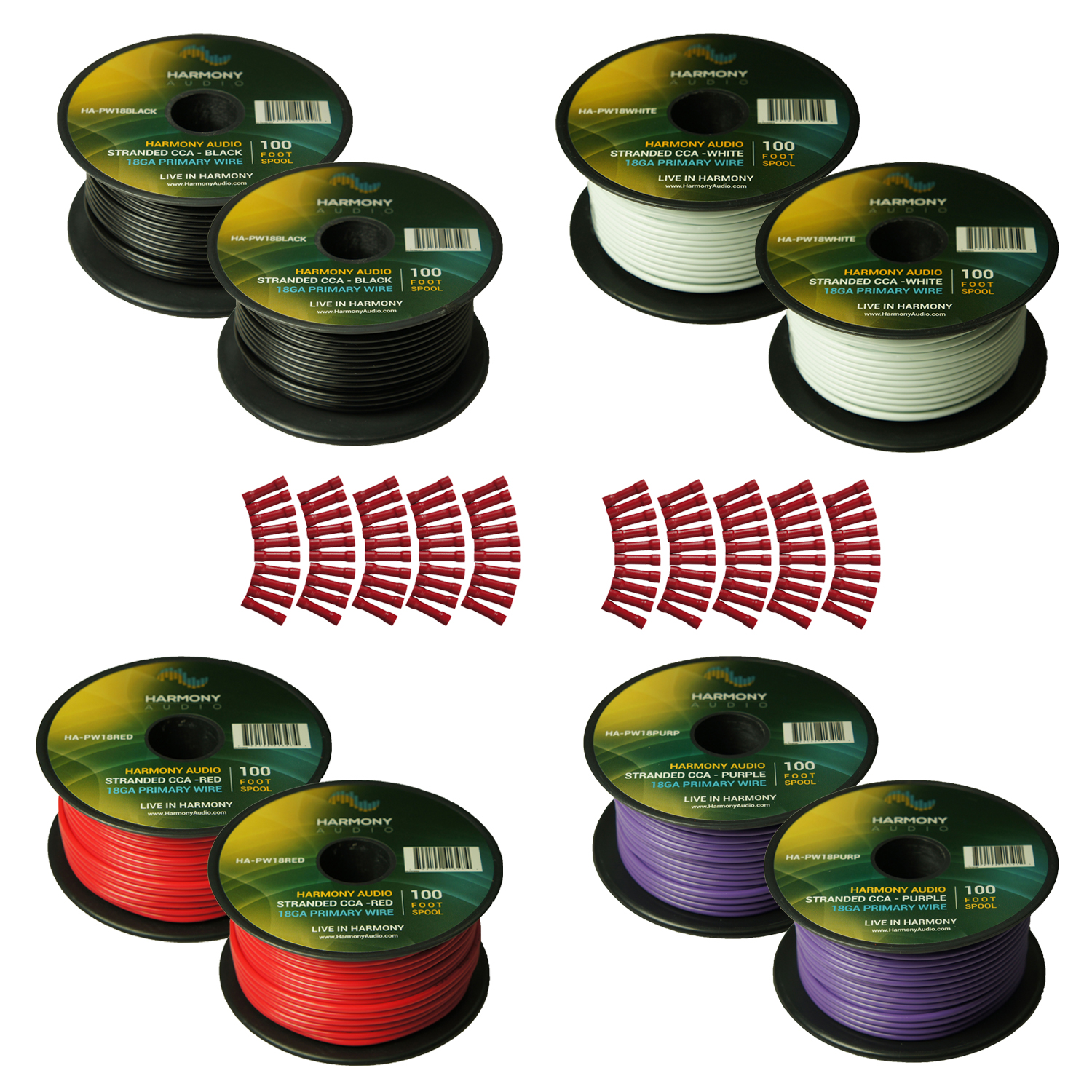 Harmony Audio Primary Single Conductor 18 Gauge Power or Ground Wire - 8 Rolls - 800 Feet - 4 Color Mix for Car Audio / Trailer / Model Train / Remote