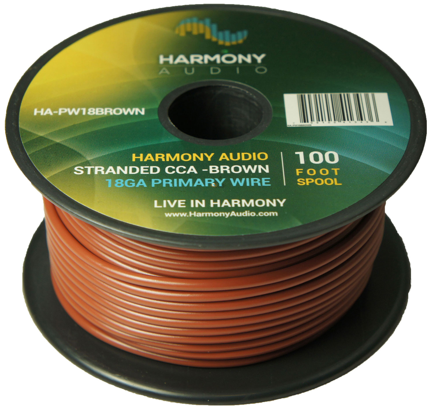 Harmony Audio HA-PW18BROWN Primary Single Conductor 18 Gauge Brown Power or Ground Wire Roll 100 Feet Cable for Car Audio / Trailer / Model Train / Remote