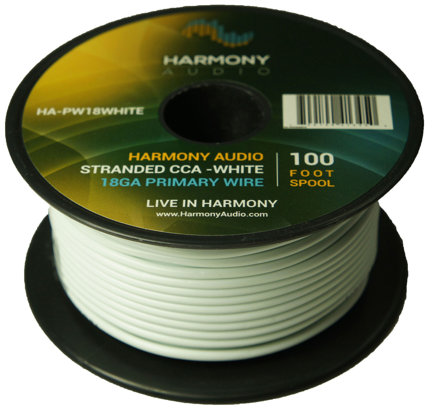 Harmony Audio HA-PW18WHITE Primary Single Conductor 18 Gauge White Power or Ground Wire Roll 100 Feet Cable for Car Audio / Trailer / Model Train / Remote