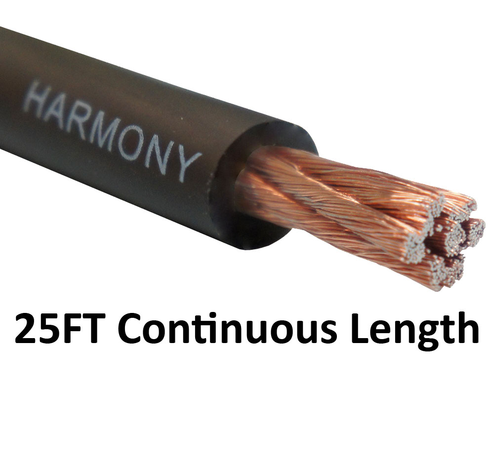 Harmony Audio 4 Gauge 4GA Car Stereo Matte Black Power Cable Amp Wire - 25 FT