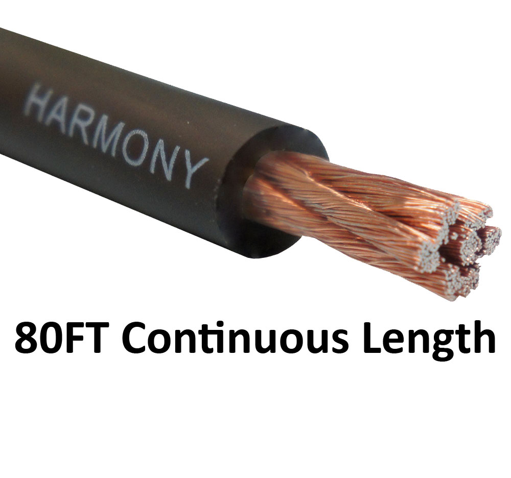 Harmony Audio 4 Gauge 4GA Car Stereo Matte Black Power Cable Amp Wire - 80 FT