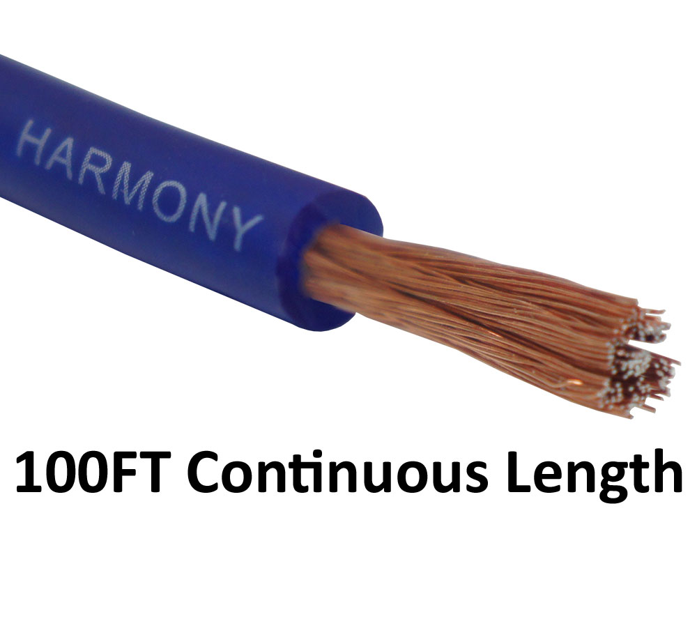 Harmony Audio 8 Gauge 8GA Car Stereo Matte Blue Power Cable Amp Wire - 100 FT