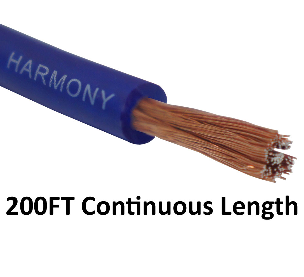 Harmony Audio 8 Gauge 8GA Car Stereo Matte Blue Power Cable Amp Wire - 200 FT