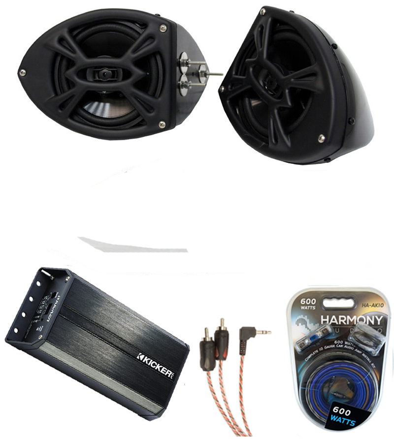 Yamaha Car Audio: Yamaha Snowmobile Rockford R152 & Kicker PXA300.4 Amp 5.25