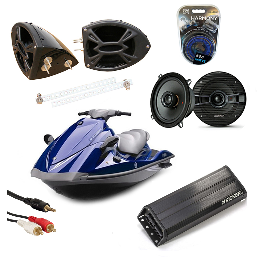 "Yamaha Wave Runner PWC Marine Kicker KS525 & PXA300.4 Amp Custom 5 1/4"" Black Speaker Pods System"