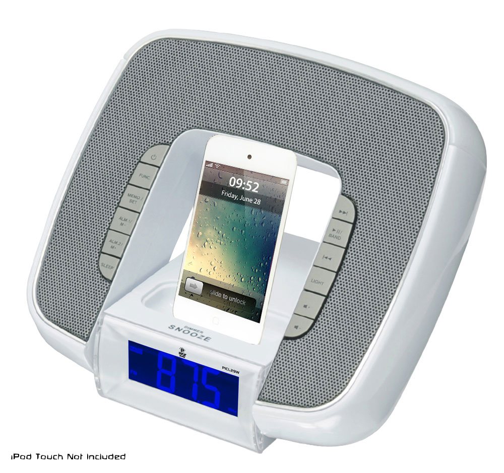 iphone clock radio pyle home picl29w iphone ipod white station with 8346