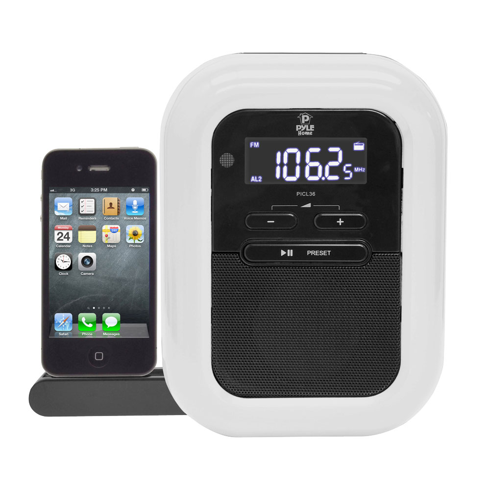pyle home picl36b white digit lcd display clock radio iphone docking station new pye13 picl36b. Black Bedroom Furniture Sets. Home Design Ideas