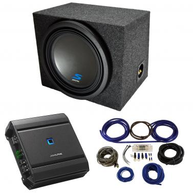 """Universal Car Stereo Single 12"""" Alpine Type S S-W12D4 Bundle with Rearfire Sealed Sub Box Enclosure with S-A60M Amplifier & 4GA Amp Kit"""